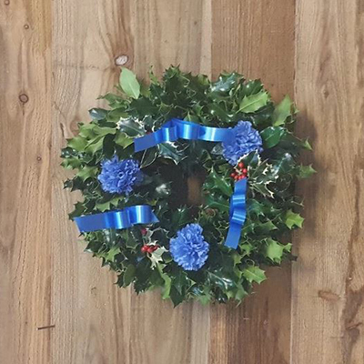 Blue holly wreath